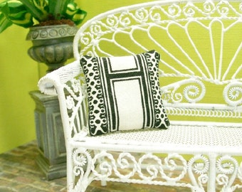 H Monogram Pillow Cushion Black White 1:12 Dollhouse Miniature Artisan