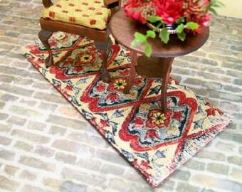 Red Blue Rug Carpet Persian Oriental 1:12 Dollhouse Miniature Artisan