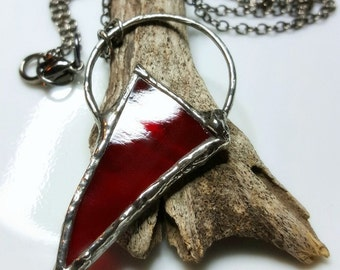 Red Stained Glass Necklace, Modern Rustic, Wearable Art, Artisan Jewelry, Statement Shield Necklace, Arrow Necklace, Moon Necklace, Boho