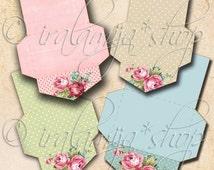 SHABBY MINI ENVELOPES Collage Digital Images -printable download file Scrapbook Printable Sheet