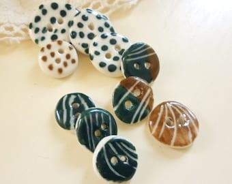 A Set Of 10 Handmade Porcelain Buttons