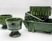 Deep green planters - set of 5 - 1960s