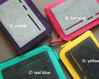 iPad mini Case, Tablet Cover, felt zipper bag, purple/hot pink/teal blue/yellow.