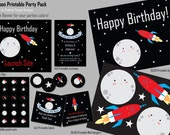 Cute Moon Blue Party Printable Party Pack