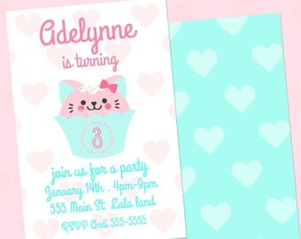Kitty Cupcake Print or email Digital Party 4x6 Invitation file