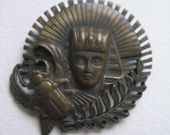 Vintage Deco Egyptian Revival Scarab Beetle Bronze King Tut Pin Laurel Leaf