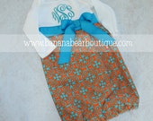 Tangerine and Turquoise Newborn Layette Gown  Long or Short Sleeve