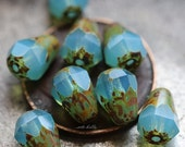 10% off LAGOON PICASSO DROPETTES No. 1 .. New 10 Picasso Czech Glass Drop Beads 8x6mm (5208-10)