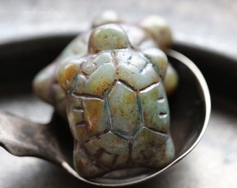 10% off SAGE TURTLES .. NEW 2 Czech Picasso Glass Turtle Beads 20x8mm (5303-2)
