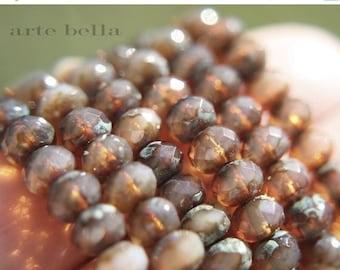 10% off HONEY OPALS .. 10 Premium Picasso Czech Glass Rondelle Beads 6x4mm (570-10)