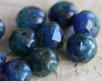 10% off AZUL No. 2 .. NEW 10 Premium Czech Picasso Rondelle Glass Beads 6x8-9mm (5197-10)