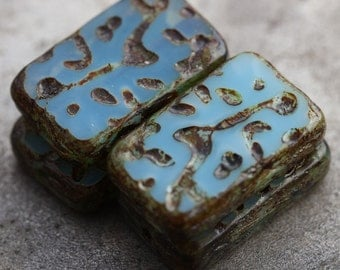 BLUE SKIES .. 4 Picasso Czech Glass Rectangle Beads 18x12mm (5417-4)