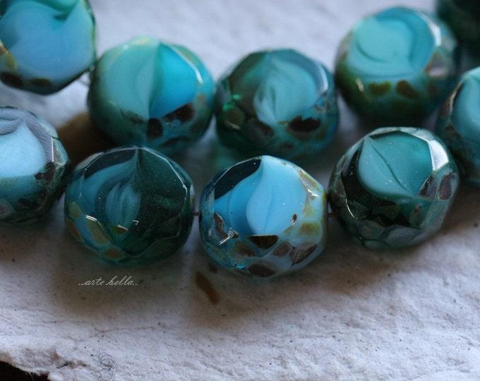 OCEAN SLABS .. 6 Picasso Czech Table Cut Glass Beads 12mm (4952-6)