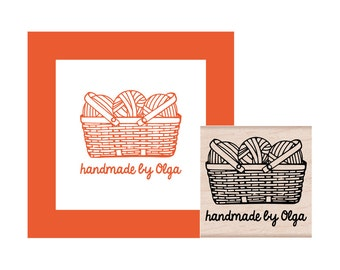 Personalized Yarn Basket Rubber Stamp