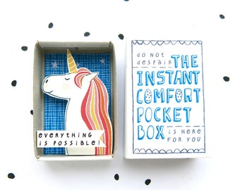 Always be a Unicorn - The Instant Comfort Pocket Box  - everything is possible! - cheer up box - magical unicorn