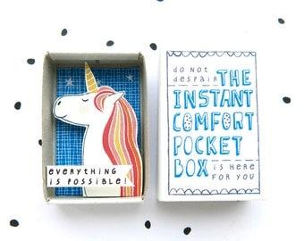 Altijd een eenhoorn - The Instant Comfort Pocket Box - alles is mogelijk! -cheer doos - magical unicorn
