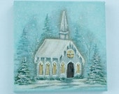 Custom Order for jscsr1 - 3x3 Canvas Painting of a Church Winter Scene