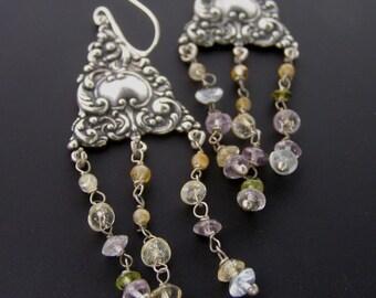 Womens Boho Earrings, Chandelier Earrings, Gypsy Earrings, Long Dangle Earrings, Long Hippie Earrings, Bohemian Bridal Earrings
