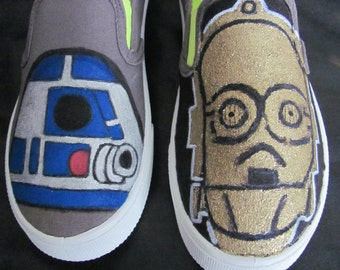 Star Wars R2D2 and C3PO hand painted shoes
