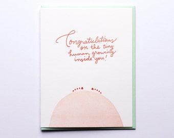 Congrats Tiny Human - Letterpress Congratulations Card - CC221