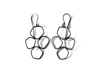 Black Dangle Earrings, Hive Earrings, Black Earrings, Nature Jewelry, Minimalist Jewelry, Sterling Earrings