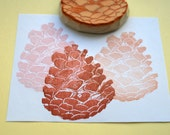 pine cone hand carved rubber stamp, handmade rubber stamp
