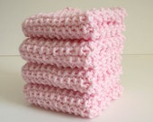 Pink Dish Cloth / Knitted Dish Cloth / Knit Wash Rag / Cotton Wash Rag / Pink Knit Dish Rag / under 10 gift