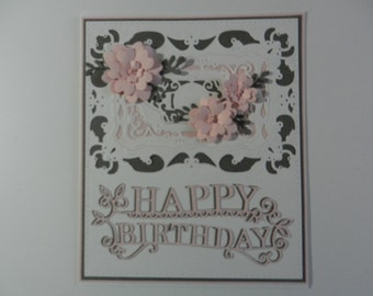 Handmade Greeting card Birthday with flowers white, pink and grey