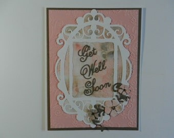 Handmade Greeting card Get Well Soon pink and taupe with flowers