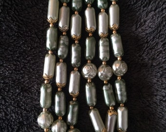 Three strand necklace mint green tubular beads