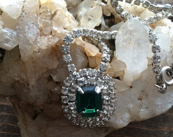 Vintage green and clear rhinestone necklace