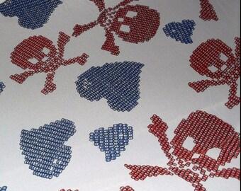 Skull Heart Red White Blue Chiffon Fabric BTY