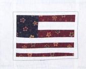 Rustic Scrappy Flag Mug Rug  Coaster or MIni Quilt #1