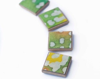 Yellow Green Magnets White Dot Batik Colorful Abstract Fridge Art Refrigerator Decor Locker Magnets Hostess Gift Set of 4 Magnets