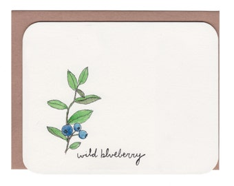 Wild blueberries card with envelope