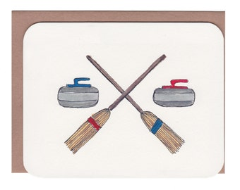 Card with envelope - Curling rocks and brooms