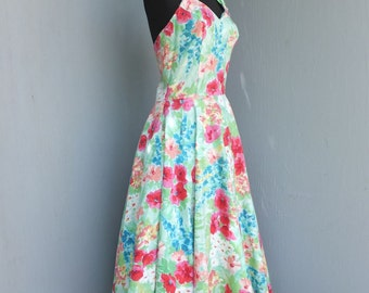 Vintage 1980s Halter Sundress, Roberta, Size 9/10, Dress w/Tulle Crinoline, Cotton Summer Dress