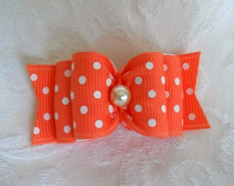 "DOG BOW-  5/8"" or 7/8"" Apricot Swiss Dot"
