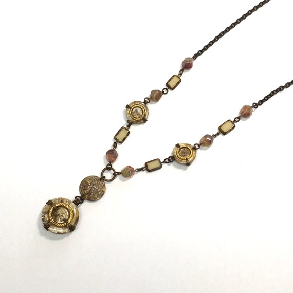 Antique Button Necklace - Brass chain with shades of tan, gold and a bit of antique rose