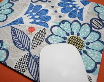 Buy 2 FREE SHIPPING Special!!   Mouse Pad, Fabric Mousepad   Blooming Blue Flowers