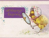 Vintage Easter Postcard of Chick wearing bonnet with mirror and white gloves on feet vintage postcard, SharonFosterVintage