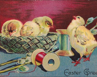 Vintage Easter Greetings postcard of chicks in woven basket with colorful threads of spool vintage postcard, SharonFosterVintage
