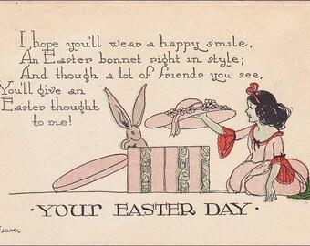 Easter Postcard  Bunny Rabbit , Cute girl Flowered Hat Box Vintage Embossed  PostCard - Post Card