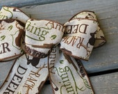 Burlap Bow - Bow for Wreath - Deer Hunting Theme - Wired Ribbon - Rustic - Lodge Decor - Burlap Ribbon