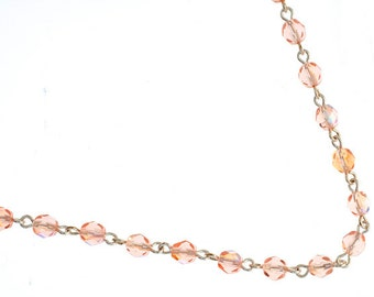 One Meter (3.28 Feet) Czech Glass Beaded Chain-Rosaline AB with Silver Link 5mm (5014)