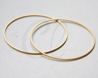 One Piece Premium Matte Gold Plated Brass Base Flat CLOSED Ring - Link - Loop 50x1mm (3071C-N-167)