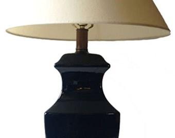 Vintage Mid Century Modern Navy Blue Ceramic Table Lamp