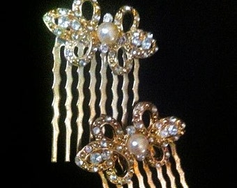 Vintage 1950s 1960s Hair Combs Embellishment  . 50s 60s Decorative Hair Combs . Gold Tone w Faux Pearls Rhinestones