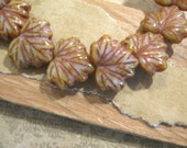 Czech Glass Golden Luster with Picasso 10x13mm Maple Leaf Beads - 20 Count