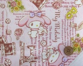 Sanrio fabric my melody half meter 50 cm by 106 cm or 19.6 by 42 inches